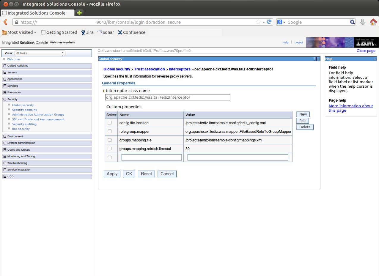 Apache CXF -- Fediz Websphere